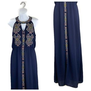 THML Halter Neck Embroidered Elastic Waist Maxi